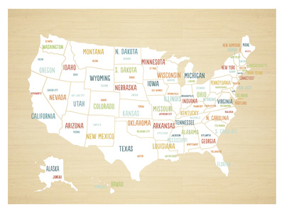 Wood USA Map Prints by Rebecca Peragine