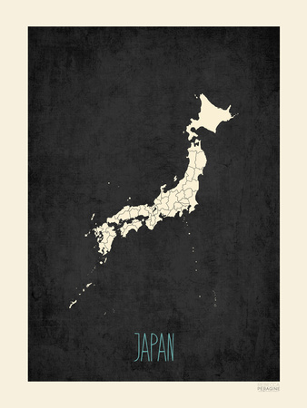 Black Map Japan Posters by Rebecca Peragine