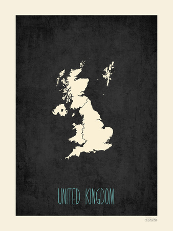 Black Map United Kingdom Posters by Rebecca Peragine