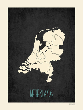 Black Map Netherlands Posters by Rebecca Peragine