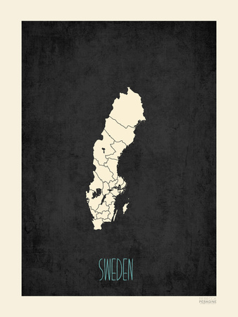 Black Map Sweden Posters by Rebecca Peragine