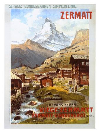 Swiss Alps, Zermatt Matterhorn Giclée-tryk af Anton Reckziegel