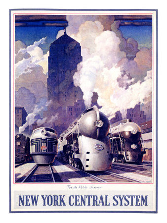 New York, Central Train System Giclee Print