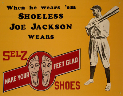 Shoeless Joe Jackson Shoes Tin Sign