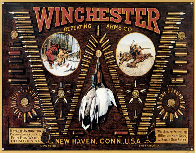 Winchester with Bullet Board Tin Sign