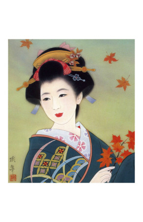 Japanese Geisha in Fall Leaves Giclee Print