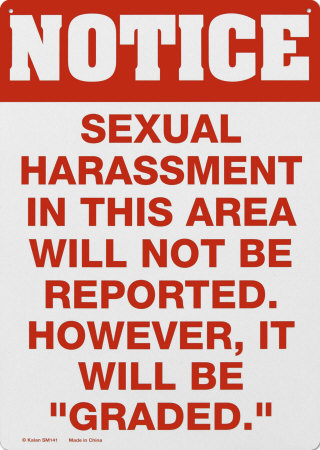 Sexual Harrassment Tin Sign