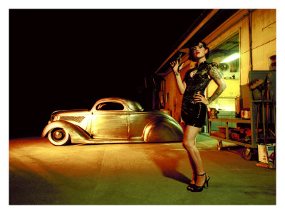 Pinup Girl Tattoos on Pin Up Girl  1937 Coupe Tattoo And Leather Gicl  E Druck Von David