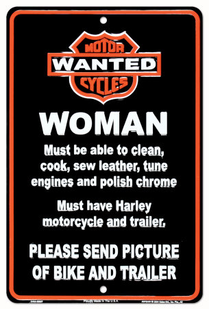 Harley Wanted Tin Sign