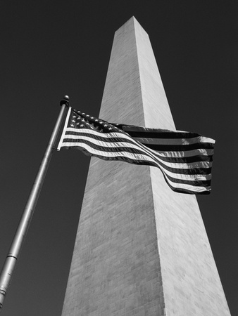 American Flags at Washington Monument things to see in Washington D.C. black and white photo poster