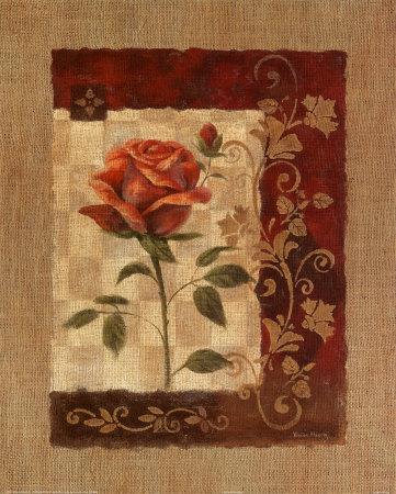 Burlap Tea Rose Prints by Vivian Flasch