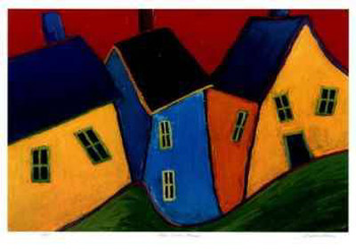 Three Crooked Houses Collectable Print by Carol Ann Shelton