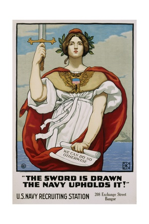 The Sword Is Drawn the Navy Upholds It! Recruitment Poster Giclee Print by Kenyon Cox