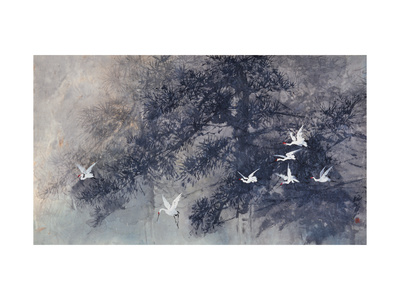 Cranes in Pinewood Giclee Print by Haizann Chen