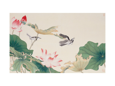 Birds by Lotus Pond Giclee Print by Hsi-Tsun Chang