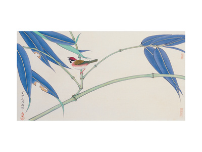 Green Bamboo and Red Bird Giclee Print by Hsi-Tsun Chang