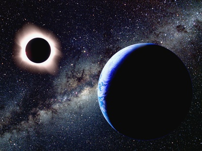Die Erde und eine totale Sonnenfinsternis aus dem Weltall betrachtet Fotografie-Druck von Roger Ressmeyer