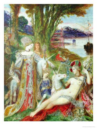 The Unicorns Premium Giclee Print by Gustave Moreau