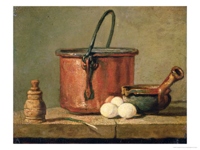 Still Life of Cooking Utensils, Cauldron, Frying Pan and Eggs Premium Giclee Print by Jean-Baptiste Simeon Chardin