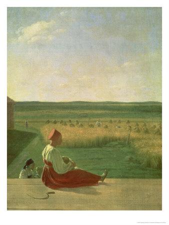 Harvesting in Summer, 1820s Premium Giclee Print by Aleksei Gavrilovich Venetsianov