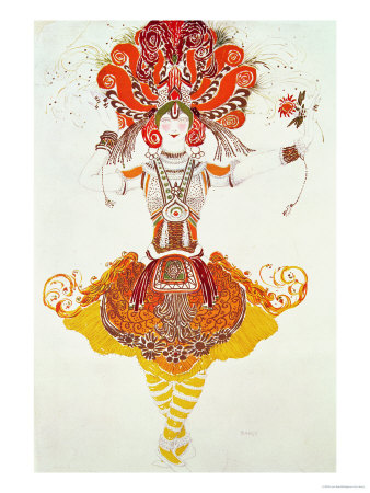 "Ballet Costume for ""The Firebird,"" by Stravinsky Premium Giclee Print by Leon Bakst"