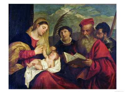 Madonna and Child with Ss. Stephen, Jerome and Maurice Premium Giclee Print by  Titian (Tiziano Vecelli)