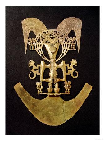 Human Figure Pendant with Headdress from Popayan Pre-Hispanic Colombian, c. 1492 Premium Giclee Print