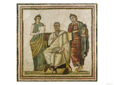 Virgil (70-19 BC) and the Muses, from Sousse (Hadrumetum) reproduction procédé giclée