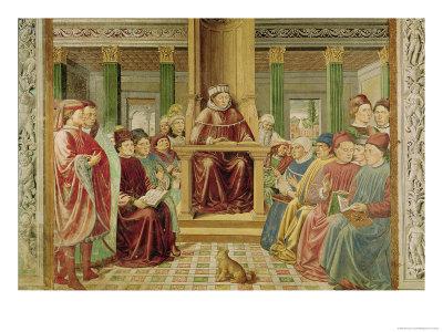 St. Augustine Reading Rhetoric and Philosophy at the School of Rome Premium Giclee Print by Benozzo Gozzoli