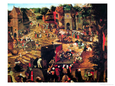 Kermesse with Theatre and Procession Premium Giclee Print by Pieter Brueghel the Younger