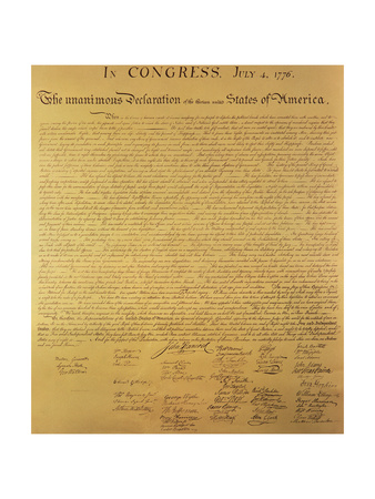 Declaration of Independence of the 13 United States of America of 1776, 1823 (Copper Engraving) Premium Giclee Print