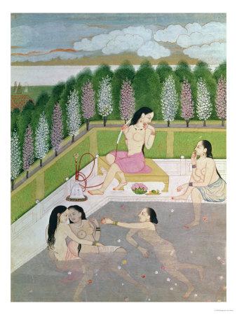 Girls Bathing, Pahari Style, Kangra School, Himachel Pradesh, 18th Century Premium Giclee Print