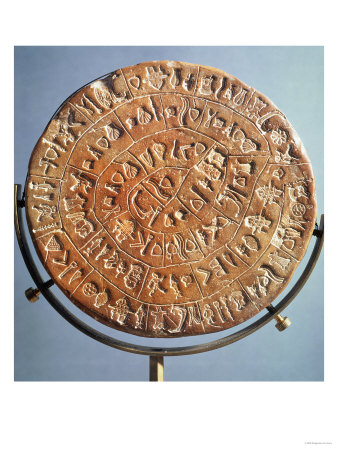 The Phaistos Disc, with Symbols of Unknown Significance, from Crete, circa 1650 BC (Clay) Premium Giclee Print