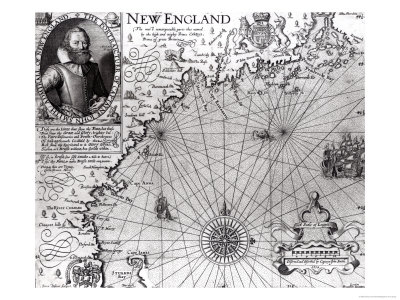 Map of the Coast of New England, Observed and Described by Captain John Smith (1580-1631) 1614 Premium Giclee Print by Simon de Passe