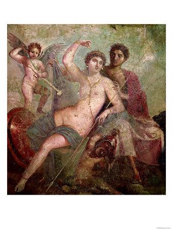 Mars and Venus from the House of Mars and Venus (Casa De Marte E Venere) Pompeii (Wall Painting) Premium Giclee Print