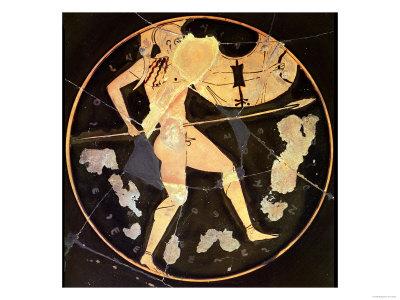 Athenian Red-Figure Kylix Depicting a Greek Warrior, Greek (circa 500 BC) Premium Giclee Print