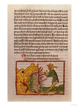 """Belial at the Gates of Hell, Illustration from a German Translation of """"Belial,"""" 1473 Premium Giclee Print"""