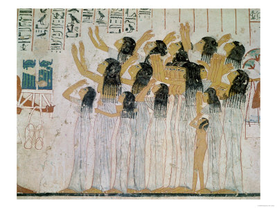Weeping Women in a Funeral Procession, from the Tomb-Chapel of Ramose Vizier and Governor of Thebes Premium Giclee Print