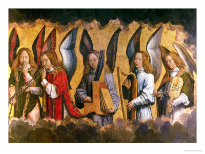 Angels Playing Musical Instruments, Right Hand Panel from a Triptych Giclee Print by Hans Memling