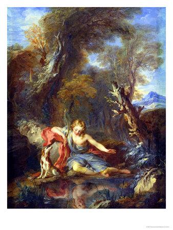 Narcissus, 1728 Premium Giclee Print by Francois Lemoyne