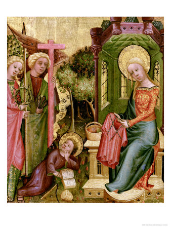Visit of the Angel, from the Right Wing of the Buxtehude Altar, 1400-10 Premium Giclee Print by  Master Bertram of Minden