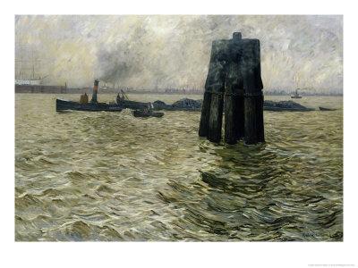 The Port of Hamburg, 1894 Giclee Print by Leopold Karl Walter von Kalckreuth