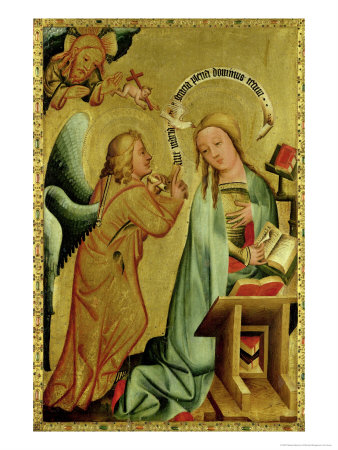 The Annunciation from the High Altar of St. Peter's in Hamburg, the Grabower Altar, 1383 Giclee Print by  Master Bertram of Minden