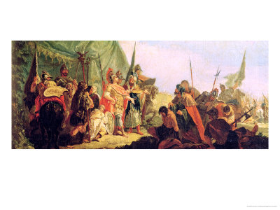 Alexander the Great (356-23 BC) and Porus Giclee Print by Francesco Fontebasso