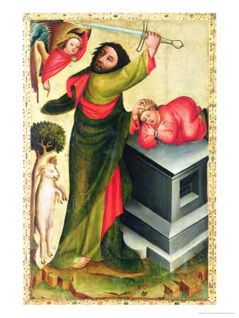 The Sacrifice of Isaac from the High Altar of St. Peter's in Hamburg, the Grabower Altar, 1383 Giclee Print by  Master Bertram of Minden