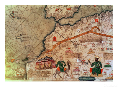 Detail from the Catalan Atlas, 1375 Premium Giclee Print by Abraham Cresques