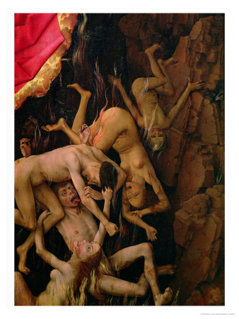 The Last Judgement, Detail of the Fall of the Damned to Hell, circa 1445-50 Premium Giclee Print by Rogier van der Weyden