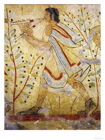 Musician Playing the Pipes, from the Tomb of the Leopard, circa 490 BC (Wall Painting) reproduction procédé giclée