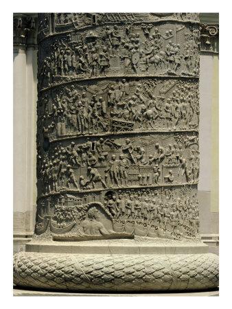 The Battle Against the Dacians, Detail from Trajan's Column, 113 AD (Limestone) Premium Giclee Print