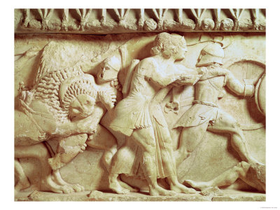Detail of the North Frieze of the Siphnian Treasury Depicting Gods Fighting Giants, circa 525 BC reproduction procédé giclée